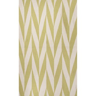 Flat Weave Geometric Pattern Green/ White Wool Area Rug (9' x 12')