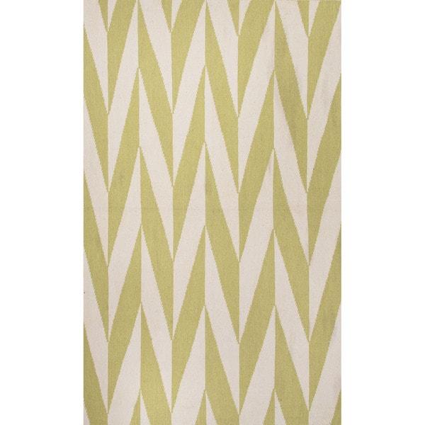 Flat Weave Geometric Pattern Green/ White Wool Area Rug (5' x 8')