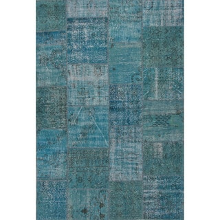 Hand Knotted Oriental Pattern Blue Wool Area Rug (9' x 12')