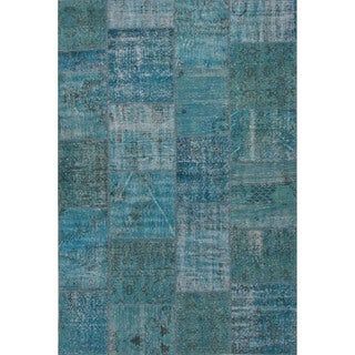Hand Knotted Oriental Pattern Blue Wool Area Rug (5' x 8')