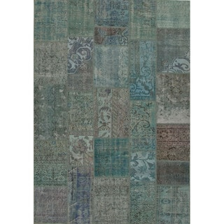 Hand Knotted Oriental Pattern Blue/ Green Wool Area Rug (5' x 8')