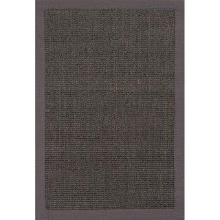 Handmade Abstract Pattern Black/ Grey Sisal Area Rug (2' x 3')