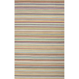 Flat Weave Stripe Pattern Orange/ Blue Wool Area Rug (5'x8')
