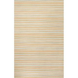 Flat Weave Stripe Pattern Orange/ Ivory Wool Area Rug (2' x 3')