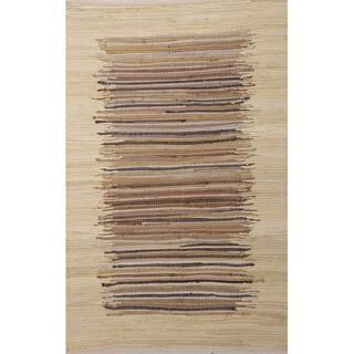 Handmade Stripe Pattern Natural/ Ivory Cotton Area Rug (2'3 x 3'9)