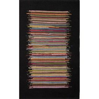 Handmade Stripe Pattern Multi/ Black Cotton Area Rug (2'3 x 3'9)