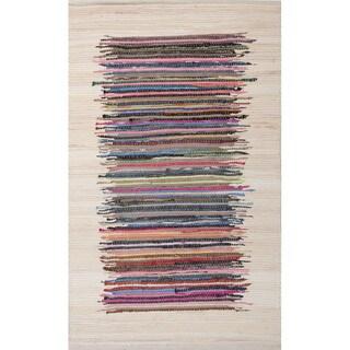 Handmade Stripe Pattern Multi/ Ivory Cotton Area Rug (2'3 x 3'9)