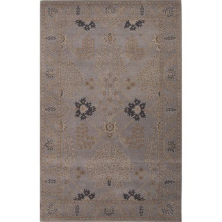 Hand Tufted Floral Pattern Grey Wool Area Rug (8' x 10')