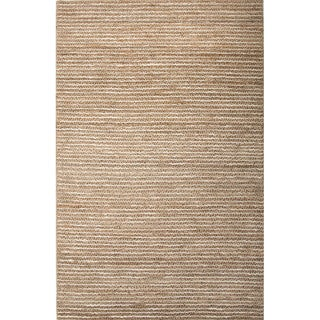 Handmade Stripe Pattern Beige/ Ivory Hemp Area Rug (5' x 8')