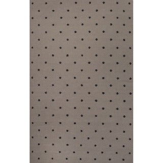 Flat Weave Geometric Pattern Grey/ Black Wool Area Rug (9'x12')