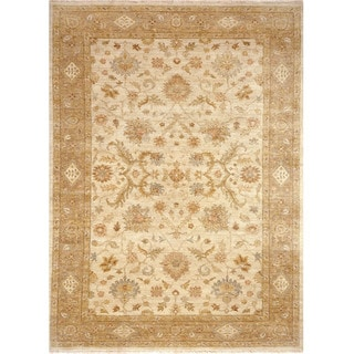 Hand Knotted Oriental Pattern Ivory/ Beige Wool Area Rug (6'x9')
