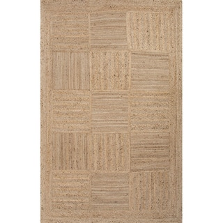 Handmade Geometric Pattern Natural Jute Area Rug (9' x 12')