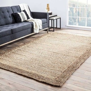 Handmade Solid Pattern Natural Jute Area Rug (9' x 12')