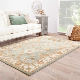 Hand Tufted Oriental Pattern Blue/ Ivory Wool Area Rug (8'x10')