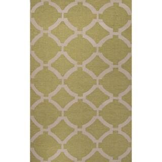 Flat Weave Geometric Pattern Green/ Ivory Wool Area Rug (9' x 12')