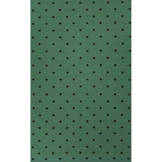 Flat Weave Geometric Pattern Green/ Black Wool Area Rug (9' x 12')