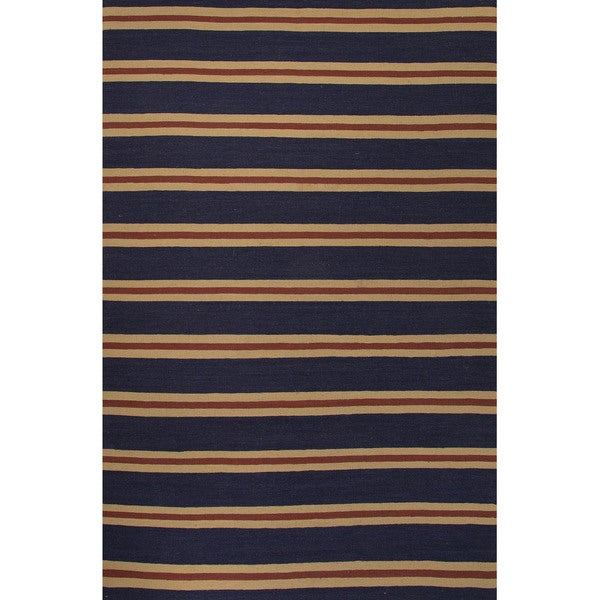 Flat Weave Geometric Pattern Blue Beige Wool