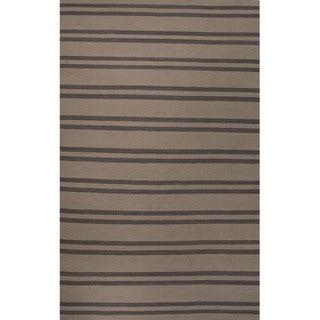 Flat Weave Geometric Pattern Beige/ Ivory Wool Area Rug (5' x 8')