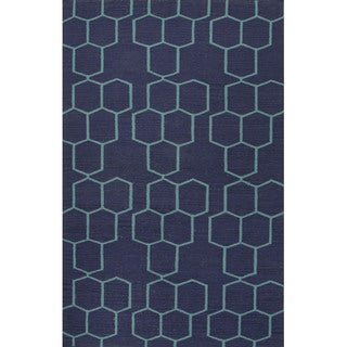 Flat Weave Geometric Pattern Blue Wool Area Rug (8' x 10')