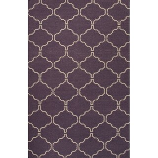 Flat Weave Geometric Pattern Purple/ Ivory Wool Area Rug (9' x 12')