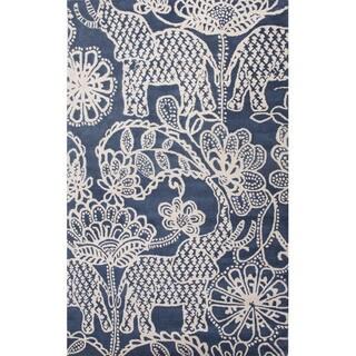 Hand Tufted Animal Pattern Blue/ Grey Wool Area Rug (2' x 3')
