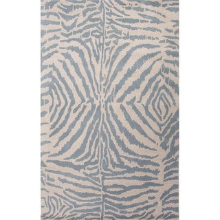 Hand Tufted Animal Pattern White/ Blue Wool Area Rug (5' x 8')