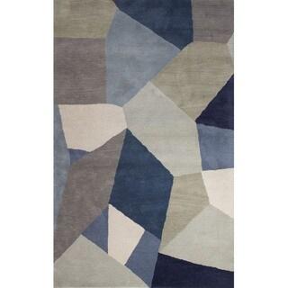 Hand Tufted Geometric Pattern Multi/ Blue Wool Area Rug (8'x11')