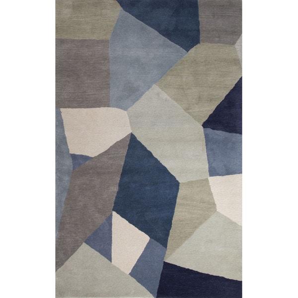 Hand Tufted Geometric Pattern Multi Blue Wool Area Rug 2