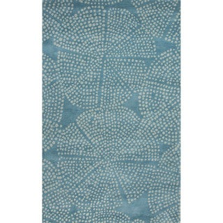 Hand Tufted Abstract Pattern Blue/ Ivory Wool Area Rug (8'x11')