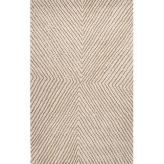 Hand Tufted Geometric Pattern Grey/ Natural Wool Area Rug (8' x 11')