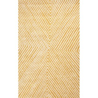 Hand Tufted Geometric Pattern Natural/ Beige Wool Area Rug (8' x 11')
