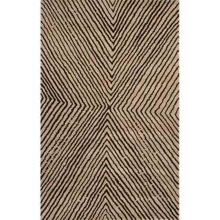 Hand Tufted Geometric Pattern Brown/ Beige Wool Area Rug (5' x 8')