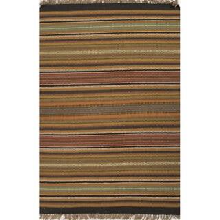 Flat Weave Stripe Pattern Red/ Green Jute/ Chinille Area Rug (5' x 8')