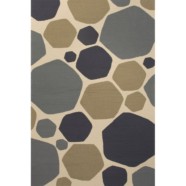 Geometric Pattern Grey/ Blue Area Ru