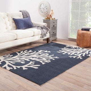 Abstract Pattern Blue/ White Polypropylene Area Rug (3'6x5'6)
