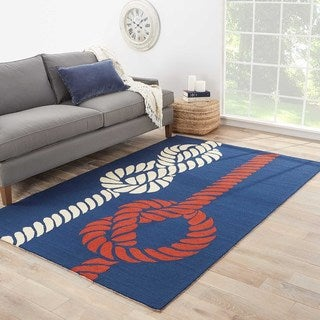 Handmade Abstract Pattern Blue/ Red Polypropylene Area Rug (3'6 x 5'6)