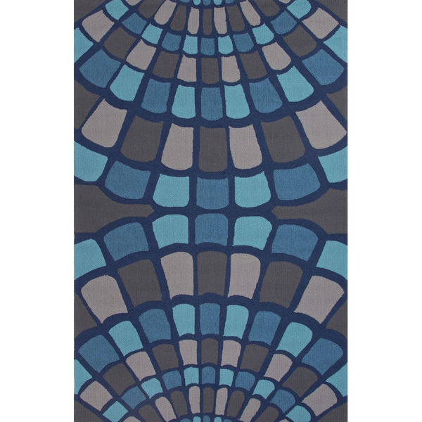 Geometric Pattern Blue/ Grey Area Ru