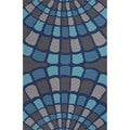 Geometric Pattern Blue/ Grey Polypropylene Area Rug (3'6 x 5'6)