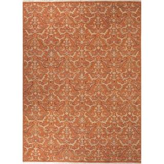 Southwestern/Tribal Pattern Orange Wool Area Rug (9' x 12')