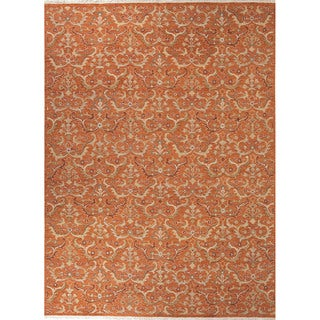 Southwestern/Tribal Pattern Orange Wool Area Rug (8' x 10')