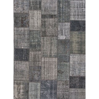 Hand Knotted Oriental Pattern Grey/ Black Wool Area Rug (5' x 8')