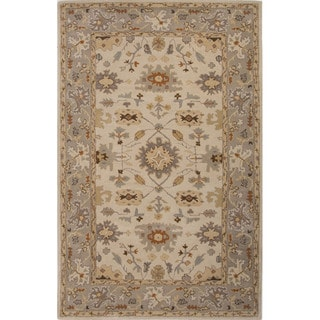 Hand Tufted Oriental Pattern Ivory/ Grey Wool Area Rug (8' x 10')
