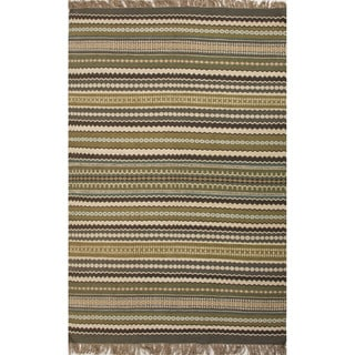 Stripe Pattern Green/ Blue Jute/ Chinille Area Rug (8' x 10')