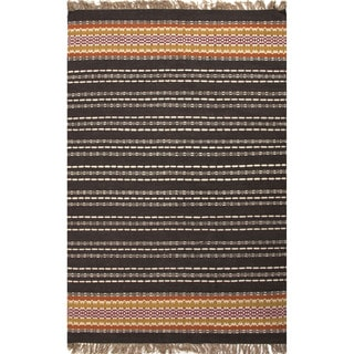 Flat Weave Stripe Pattern Black/ Red Jute/ Chinille Area Rug (8' x 10')