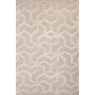 Floral Pattern Grey/ Ivory Wool/ Art Silk Area Rug (5'6 x 8'6)