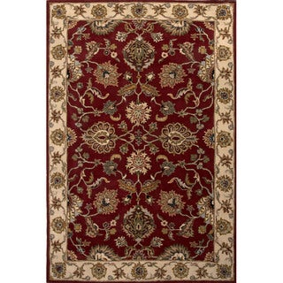 Hand Tufted Oriental Pattern Red/ Ivory Wool Area Rug (8' x 10')