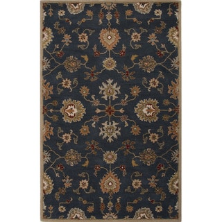 Hand Tufted Oriental Pattern Blue/ Orange Wool Area Rug (8' x 10')