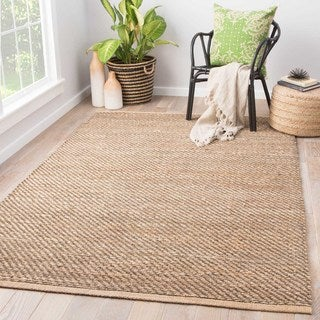 Handmade Solid Pattern Brown Jute/ Rayon Area Rug (2'6 x 4')