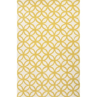 Hand Tufted Geometric Pattern Gold/ Ivory Wool Area Rug (8' x 10')