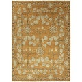 Hand Knotted Floral Pattern Orange/ Green Wool Area Rug (6' x 9')